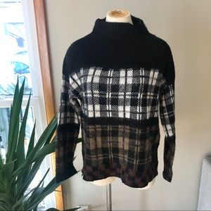 Plaid Multi-colored Turtleneck Sweater